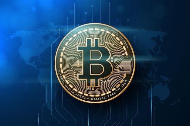 Bitcoin con sfondo di mappa del mondo