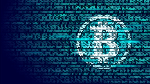 Bitcoin criptovaluta digitale segno numero di codice binario, big data