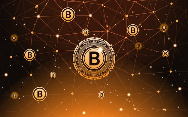 Bitcoin currency banner digital payment moderna tecnologia crypto money