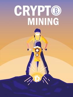 Bitcoin di mining di criptovaluta del lavoratore