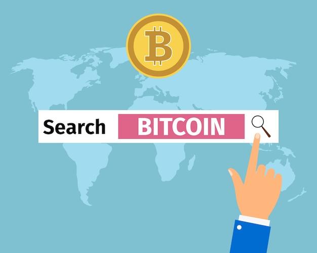 Bitcoin di ricerca della mano dell'uomo d'affari in internet