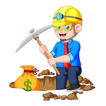 Bitcoin di scavatura dell'uomo d'affari nella roccia
