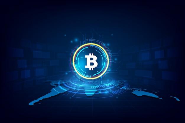 Bitcoin digitale astratto di valuta con blockchain