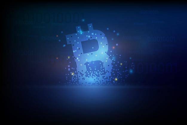 Bitcoin digitale criptovaluta vettore sfondo. bitcoin illustrazione vettoriale sfondo