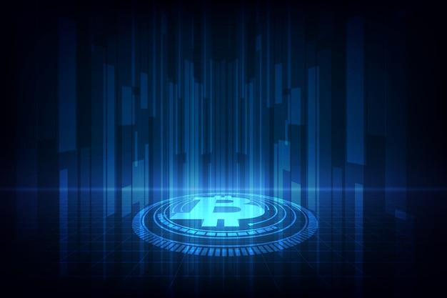 Bitcoin digitale valuta sfondo oro.