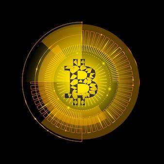 Bitcoin dorato segno criptovaluta nel bersaglio hud