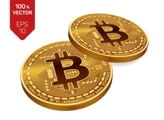 Bitcoin. due monete d'oro con bitcoin isolato. criptovaluta.