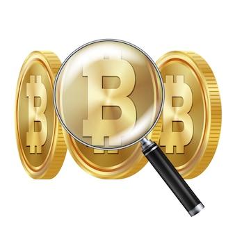 Bitcoin e lente di ingrandimento