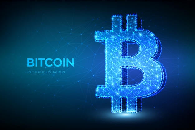 Bitcoin. linea a maglie basse poligonali astratte e punto segno bitcoin.
