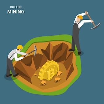 Bitcoin mining isometrico concetto di vettore piatta.