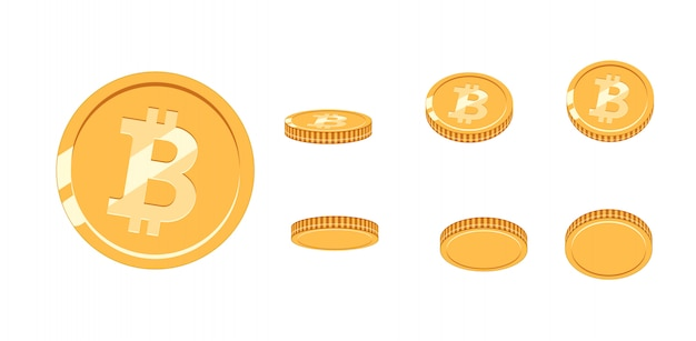 Bitcoin moneta d'oro con diverse angolazioni per l'animazione.