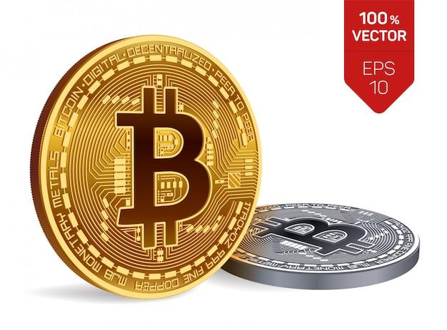 Bitcoin. monete d'oro e d'argento con bitcoin isolato. criptovaluta.