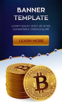 Bitcoin. pila di monete d'oro di bitcoin. modello di banner modificabile di criptovaluta.