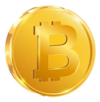 Bitcoin una moneta d'oro. isolato su bianco