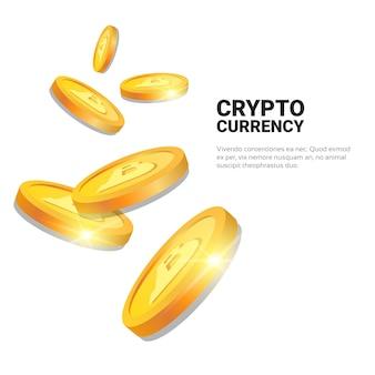 Bitcoins dorati di concetto di valuta cripto su fondo bianco