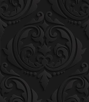 Black 3d damask seamless pattern