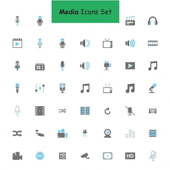 Black and blue media icons set