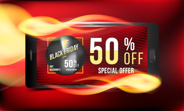 Black friday 50 off banner di sconto
