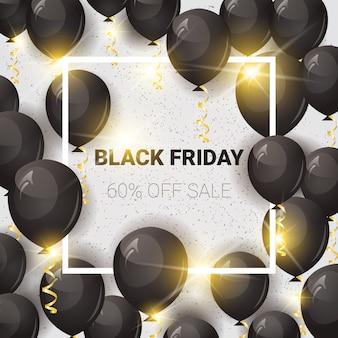 Black friday 60 per cento di sconto banner di vendita con palloncini ad aria
