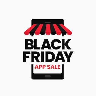 Black friday app vendita sconto promozione social media poster sfondo grafico modello icona di smartphone con tenda da sole a strisce negozio
