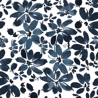Black ink daisy seamless pattern