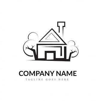 Black & white house line art logo concept