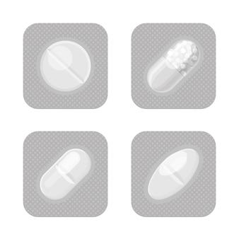Blister con forma diversa, set realistico monocromatico di pillole