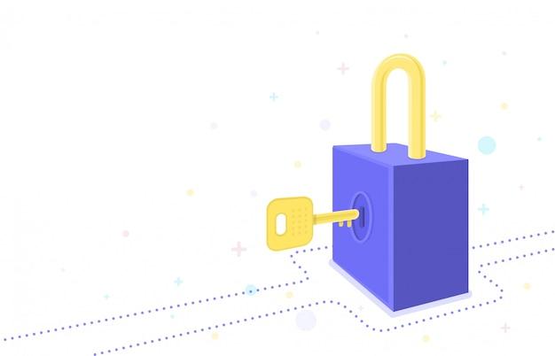 Blocca il sistema di sicurezza. disegno grafico.