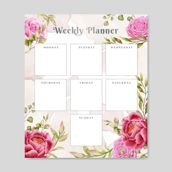 Blocchetto per appunti settimanale floreale