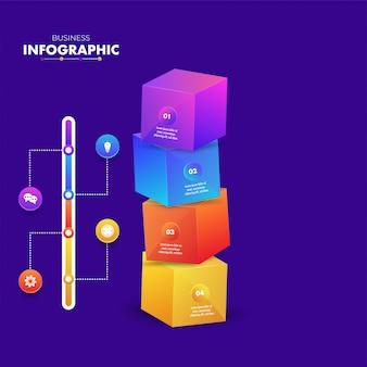 Blocchi di cubo infographic 3d colorato con modello di 4 passaggi
