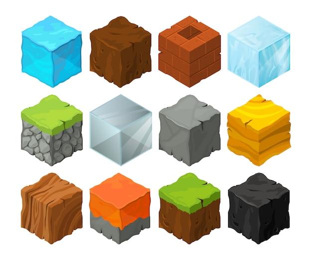 Blocchi isometrici con diverse texture per la progettazione del luogo di gioco 3d.