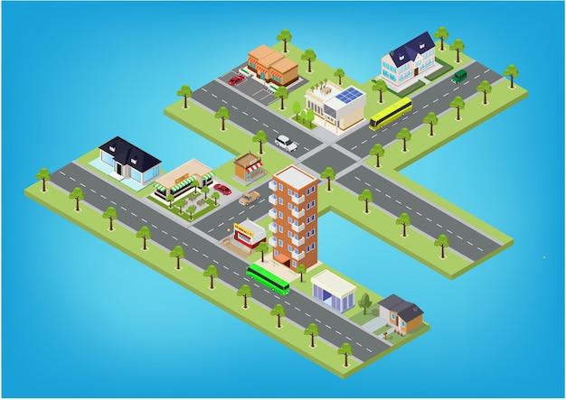 Blocchi megalopoli di città isometrica piatta