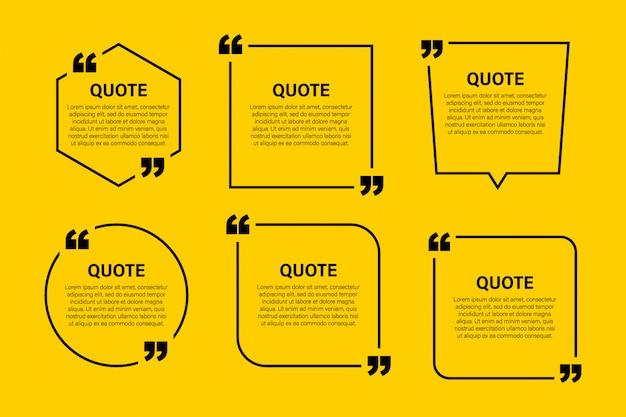 Blocco di tendenza citazione elementi di design moderno. modello di cornice di testo di citazione e commento creativo.