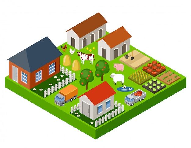 Blocco isometrico giocattolo fattoria. isolato. elementi della mappa.