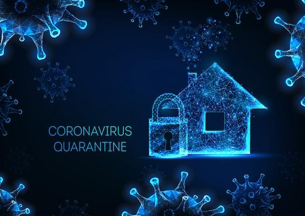Blocco, lavoro da casa, auto quarantena dovuta al concetto di pandemia di coronavirus
