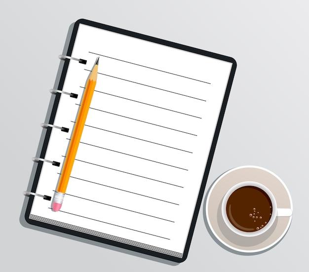 Blocco note a spirale realistico in bianco con la matita e la tazza di caffè isolate su bianco