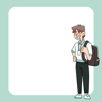 Blocco note disegni di studenti carini torna a scuola per elencare le note quotidiane
