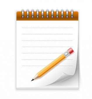 Blocco note e matita