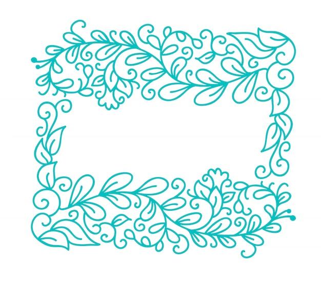 Blocco per grafici di fioritura di calligrafia monoline di vettore del turchese dell'annata