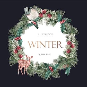 Blocco per grafici di fioritura floreale dell'inverno dell'inverno elegante per l'annata della decorazione bella
