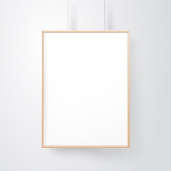 Blocco per grafici di legno in bianco sul mockup di vettore della parete