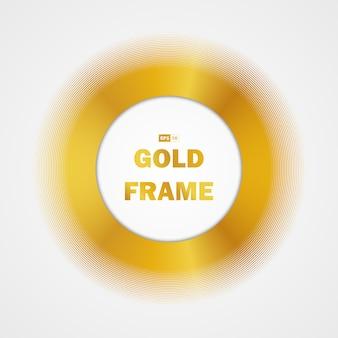 Blocco per grafici dorato astratto del cerchio del fondo dell'elemento di progettazione di pendenza di lustro.