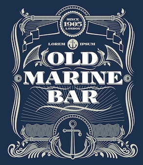 Blocco per grafici occidentale di vettore del bordo dell'annata, vecchia etichetta della barra marina. cornice di illustrazione con ancora per marine