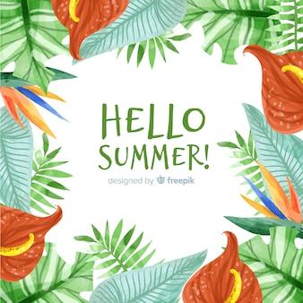 Blocco per grafici tropicale delle piante del fondo di estate