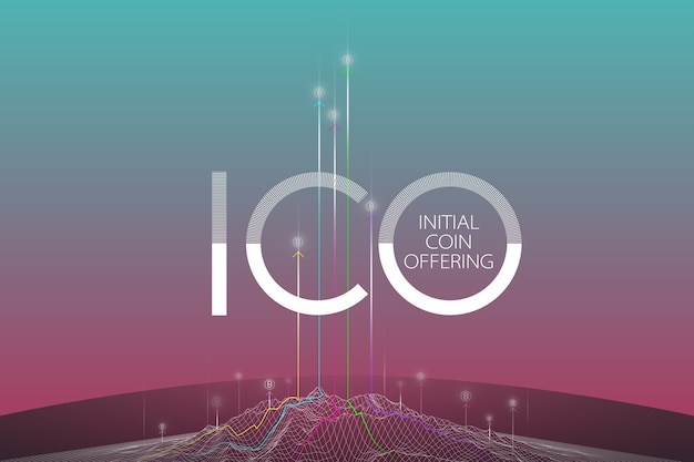 Blockchain concept, blockchain technology. ico (iniziale coin offering), crypto currency t