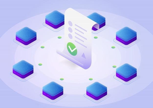Blockchain, concetto di contratto intelligente. business online con firma digitale. illustrazione isometrica.