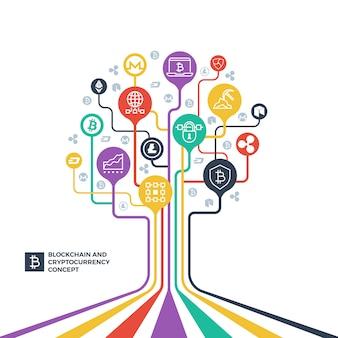 Blockchain, crittografia di criptovaluta e concetto di vettore di distribuzione dei dati