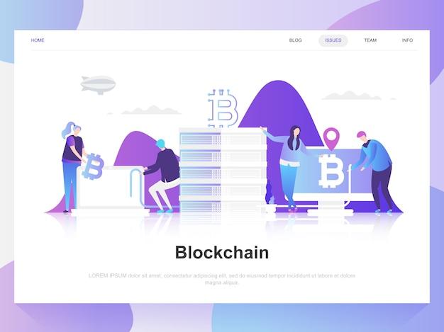 Blockchain moderno concetto di design piatto.