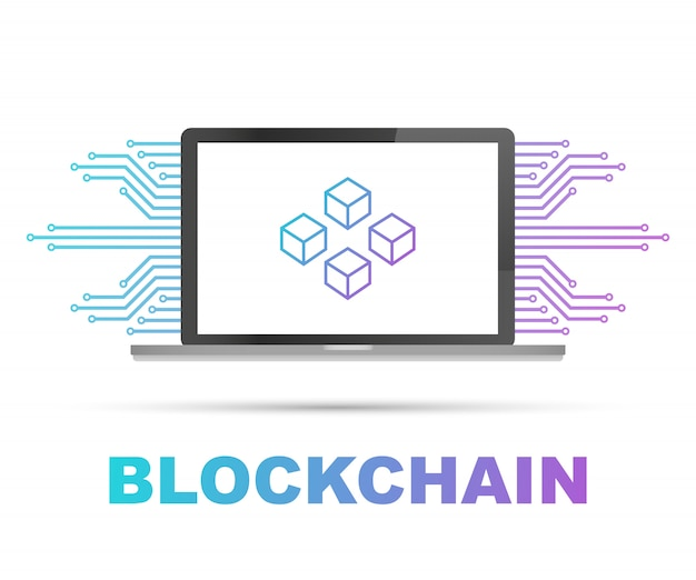 Blockchain sullo schermo del laptop, cubi collegati sul display. simbolo di database, data center, criptovaluta e blockchain
