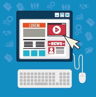 Blog design, illustrazione vettoriale.